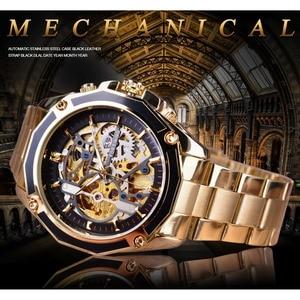 Image 2 - Forsining 2017 新コレクション透明ケースゴールデンステンレス鋼スケルトンの高級デザインメンズ腕時計トップブランド腕時計自動