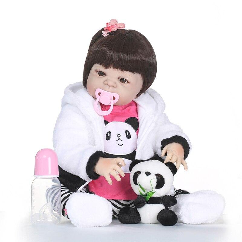 купить Nicery 22inch 55cm Bebe Reborn Doll Hard Silicone Boy Girl Toy Reborn Baby Doll Gift for Children Panda Clothes Panda Doll