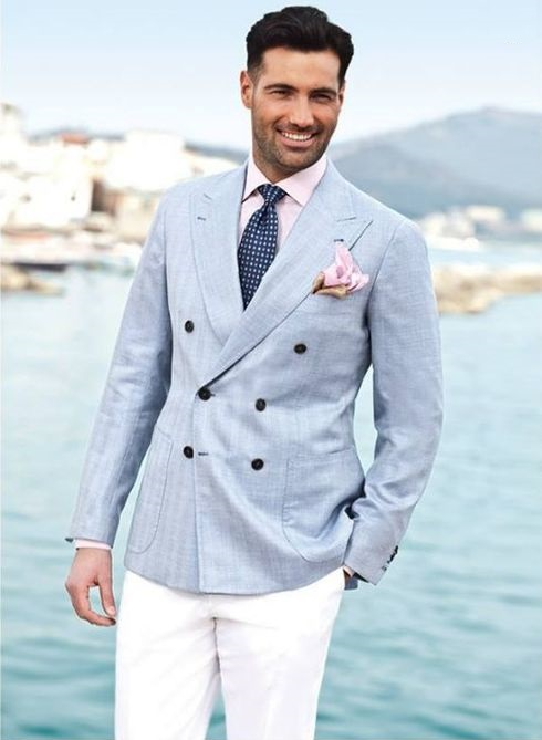 What's Satisfied Men Suits Store Latest Coat Pant Designs Light Blue Double Breasted Custom Beach Wedding Suits For Men Groom Slim Fit 2 Pieces Jacket+Pants 364