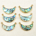 WT-P884 Unique Double Loops Paua Shell Crescent Pendant natural Paua shell with Double Bails abalone Pendant with Gold Plated