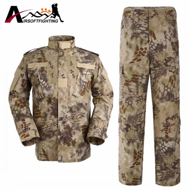 ФОТО  Tactical Training Uniform Sets Shirt & Pants Camouflage Bionic Waterproof Uniform Military Hunting Shooting Wargame Clothes