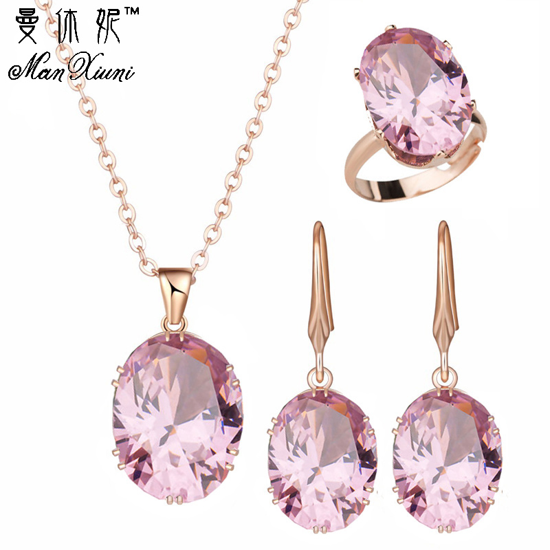 Top Quality Luxury Rose Gold Engagement Jewelry Sets Cubic Zircon For Women Bridal Wedding Earrings Sets With Rings