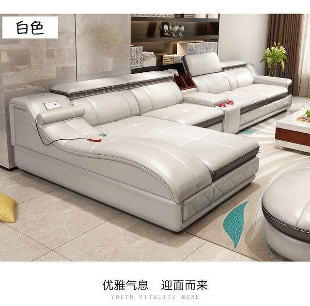 Living Room Sofa recliner corner sofa massage real genuine leather ...