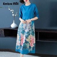 Для женщин Красивые платья Осенняя мода взлетно посадочной полосы с цветочным принтом элегантные женские длинные рукава старинные миди Suede