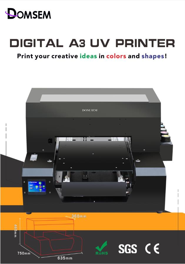 China Original factory Automatic Multicolor A3 UV Flatbed Printer with EPSON head UV LED system LCD