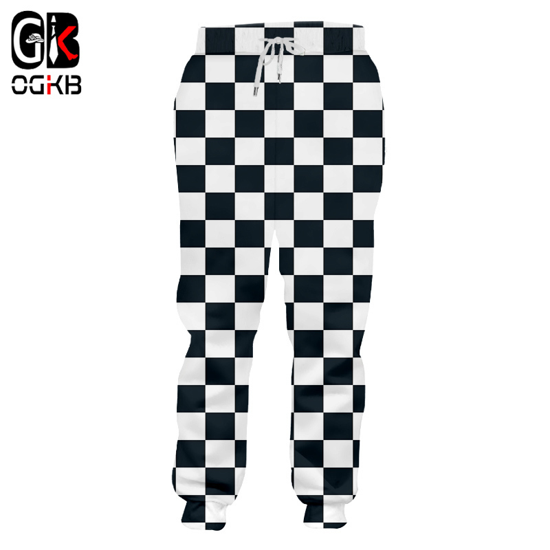 OGKB Fall Winter Loose Comfort Long Pants Men's Cool Print Black White Grid 3D Sweatpants Man Hiphop Harem Joggers Pants Homme