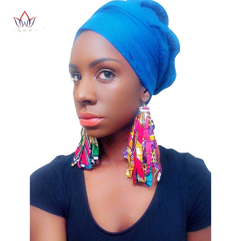 BRW 2019 Fabric African Earrings for Women Handmade Jewelry Ankara Earrings with Tassel Ethnic African Print Drop Earrings WYB29
