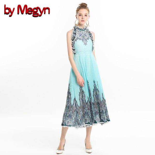 ca421e4f6e36 by Megyn sexy maxi dresses party night club long dress 2018 runway women o- neck ruffle sleeveless pleated elegant ladies dresses