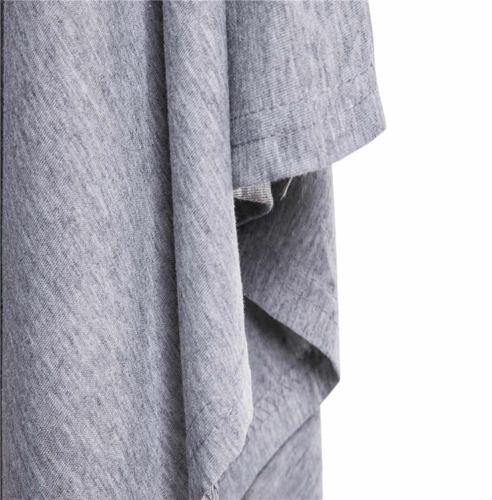 Nuovo 2019 Degli Uomini di Casual Giubbotti Uomo Irregolare Patchwork Solido Sciolto Maniche a Pipistrello con Cappuccio Poncho Cape Cappotto Più Il Formato cappotti da Uomo