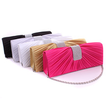 New style fashion lady's rhinesone ruched bridesmaids handbag banquet bag clutch bag party evening handbag with chains