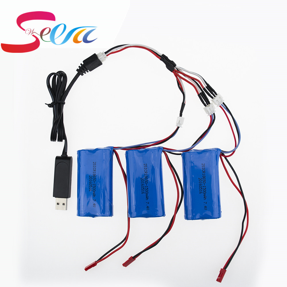3pcs Li-po Battery 7.4 V 1500mah RC Drone Battery With USB Charger 3 in 1 Cable Set For DH9053 9101 MJX F45 9118 RC Helicopter