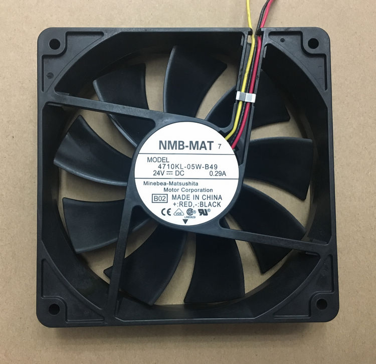 NMB-MAT 4710KL-05W-B49, B50 DC 24V 0.29A 3-wire 120x120x25mm Server Square fan free shipping for nmb bg1203 b058 p00 l2 dc 24v 1 30a 3 wire 3 pin connector 50mm 120x120x32mm server blower cooling fan