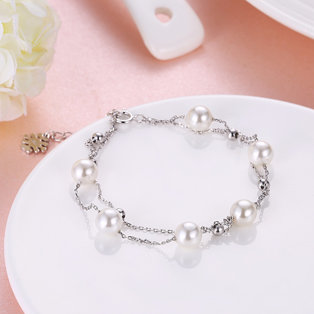 SOBUY 100% 925 Sterling Silver & Pearl Bracelet, Double layer chain - Joyas - foto 3