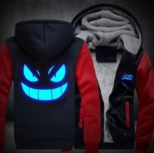 Luminous verdicken männer frauen hoodie pokemon gengar reißverschluss jacke sweatshirts mantel top clothing casual