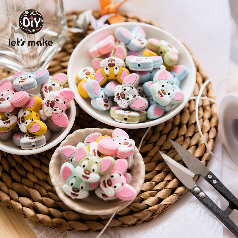 6pcs Silicone Beads Of Mouse Cartoon Animal Teething Food Grade DIY Kid Newborn Pacifier Clips Chains Baby Teethers Let's Make