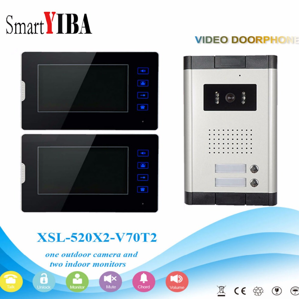 SmartYIBA 2 Units Apartment Intercom System Video Door Phone Door Intercom Aluminum Alloy Camera 7