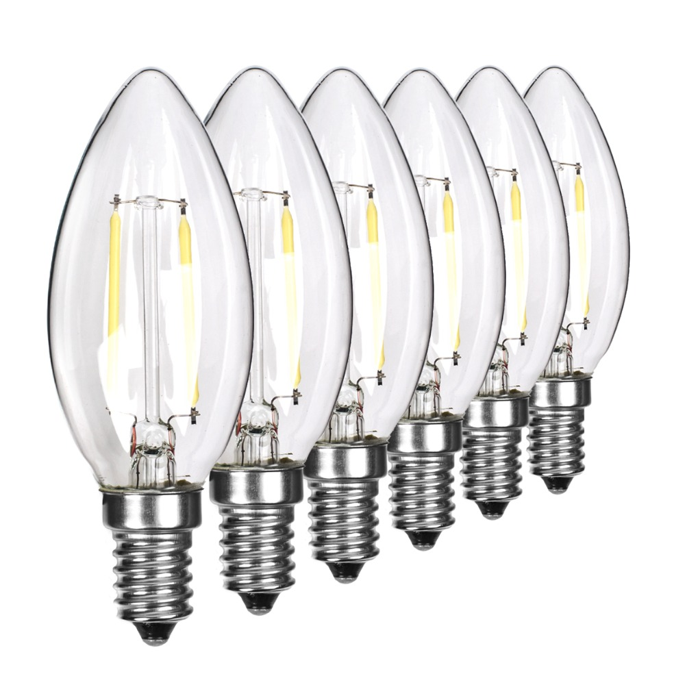 C35 E14 Screw Dimmable Bulb Home LED COB Lamp Candle Pointed Light 2W Glass White/ Warm White LED Bulb