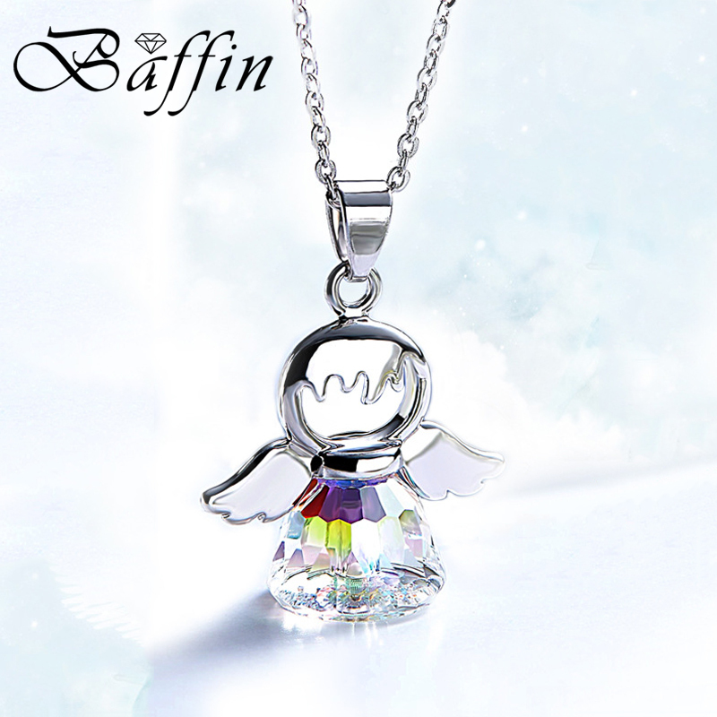 BAFFIN Cute Angel Pendant Necklace Crystals From Swarovski Silver Color Wing Jewelry Christmas Chic Gifts For Kids Girls 2018 joyashiny made with swarovski element crystals angel pendant necklace cute silver color wing jewelry chic gifts for kids girls