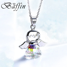 BAFFIN Cute Angel Pendant Necklace Crystals From Swarovski Silver Color Wing Jewelry Christmas Chic Gifts For Kids Girls 2018