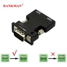 Rankman adaptateur HDMI vers VGA avec câbles Audio femelle vers mâle 720/1080P pour moniteur HDTV DVD tv box projecteur PC portable PS4