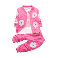 2017 New 3pcs Spring Autumn Children Jacket Clothing Set Baby Girls Sports Suit Sunflower Casual Overalls