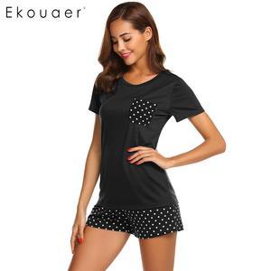 Image 5 - Ekouaer Women Sleepwear Pajamas Sets O Neck Short Sleeve Tops Dot Pocket Shorts Pajamas Set Ladies Casual Home Nightwear