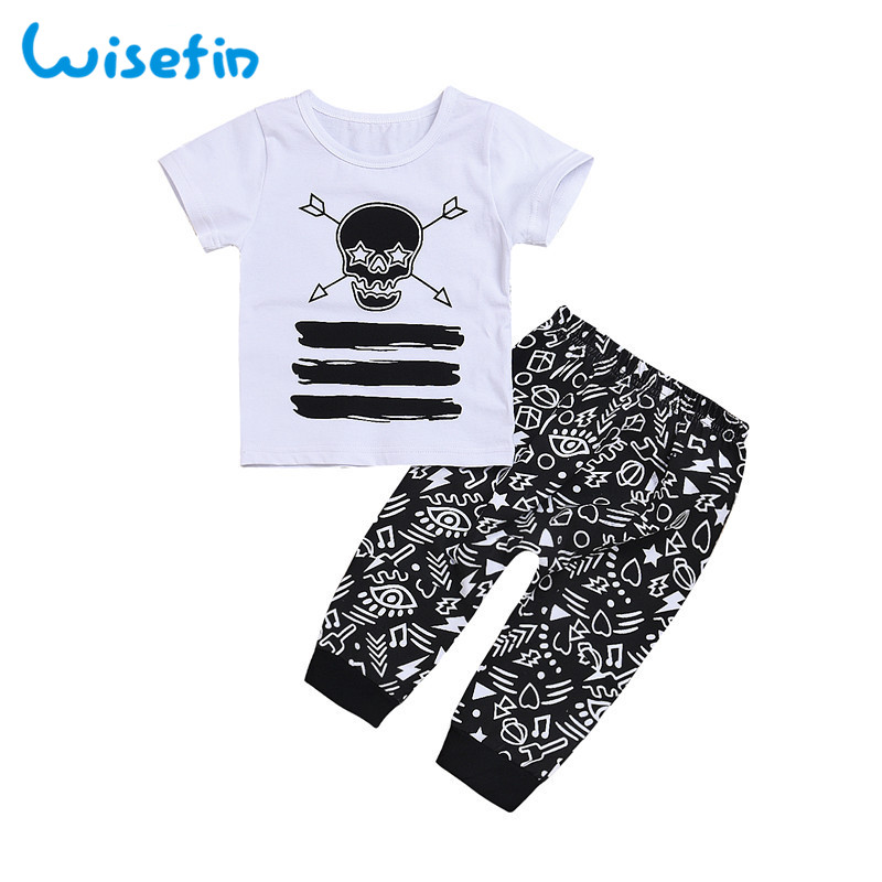 Wisefin Baby Boys Clothes Set Short Sleeve Top Skull Print Kids Boys Tracksuit 2Pcs Baby ...