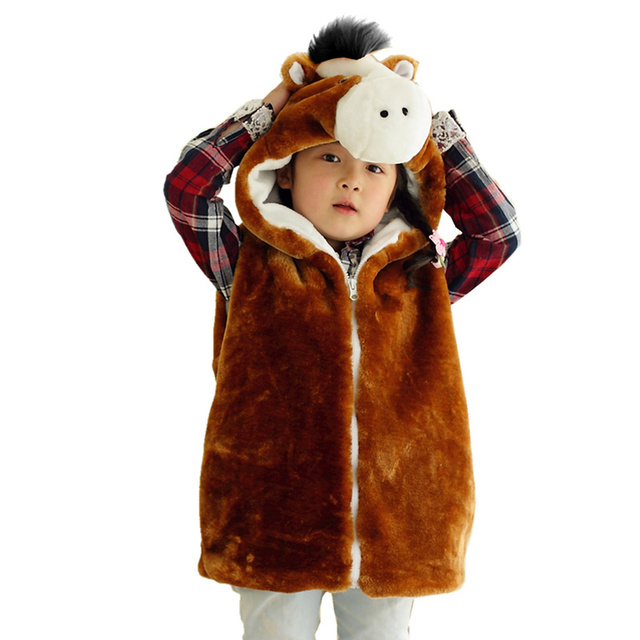 DOUBCHOW Unisex Dei Bambini del Fumetto del Modello Del Cavallo di Inverno  Cappotto Della Maglia Con 109599153d15