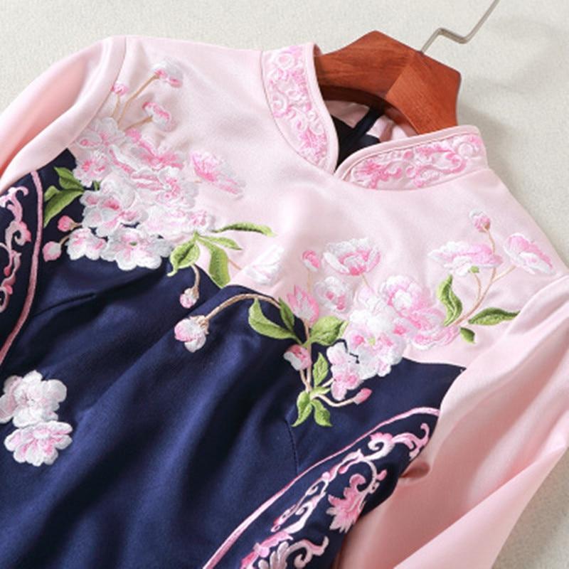 Marine Robe Vintage Cheongsam Mince Bleu Femmes Broderie Sirène Moulante Chinois Empire Style Floral Chipao qp7wZ6tp