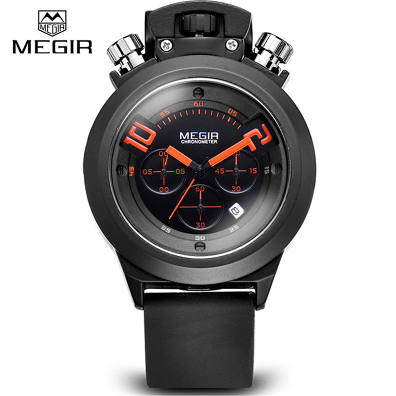Silicone Quartz-watch Mens Chronograph Stopwatch Luxury Brand MEGIR Wrist Watch Men Vintage Military Sport Watches Reloj Hombre megir chronograph sport mens watches top brand luxury leather luminous quartz military watch men clock wrist watch reloj hombre