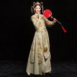 Lang Oriental Alte Hochzeit Cheongsam Champagner Zeigen Wo Kleidung Drachen Und Phoenix Retro Schleier Rock Braut Toast Kleidung