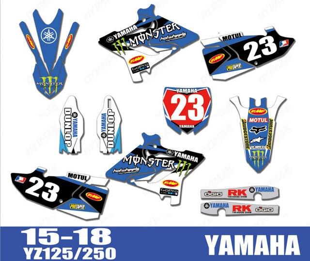 Motocicleta moto Gráficos Adesivos Fundo YZ125 YZ250 Decalques Para Yamaha YZ 125 250 2015 2016 2017 2018