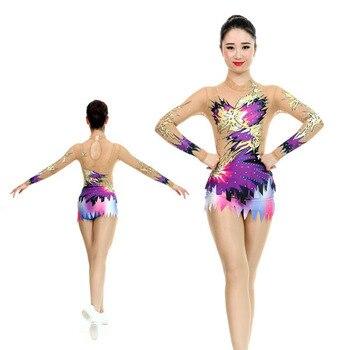 ef1d90daf Competição de Ginástica collant Performances Crianças leotards ginástica  artística Estilo Personalizado e tamanho