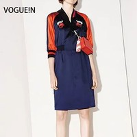 VOGUE N New Womens Ladies Premium Embroidered Satin Short Sleeve Mini Party Dress Size SML Wholesale
