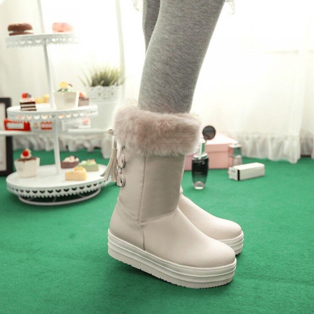 Las Botas 2018 Planas Nieve Cuero De Beige Zapatos Femeninos Becerro white Mujer Invierno Mujeres Piel black Encaje FIFqxpE