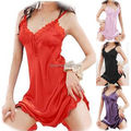 NWT Sexy Ladies Satin Lace Robe Pijamas Lingerie Camisa Dormir Pijamas G-corda