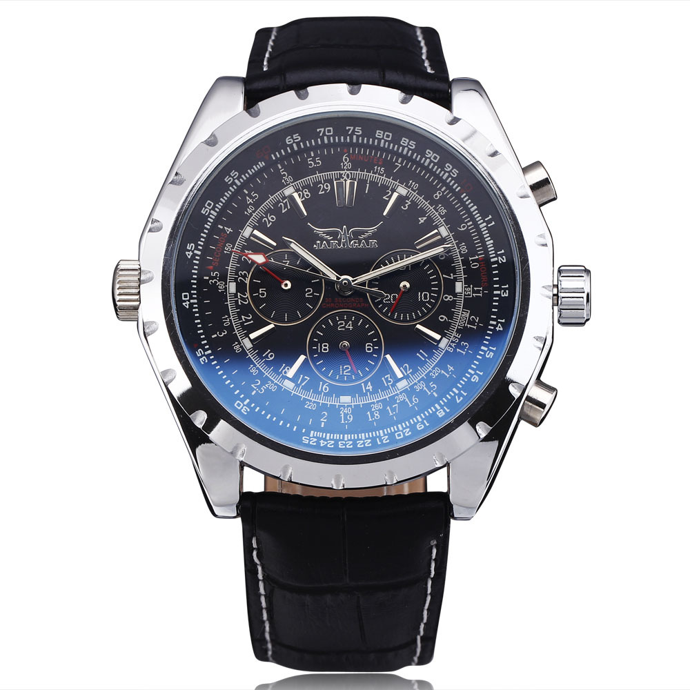 цены на 2016 Fashion Luxury Brand JARAGAR Mechanical Wristwatches Men Coated Glass Automatic Calendar Hour Week Dial Leather Strap Watch
