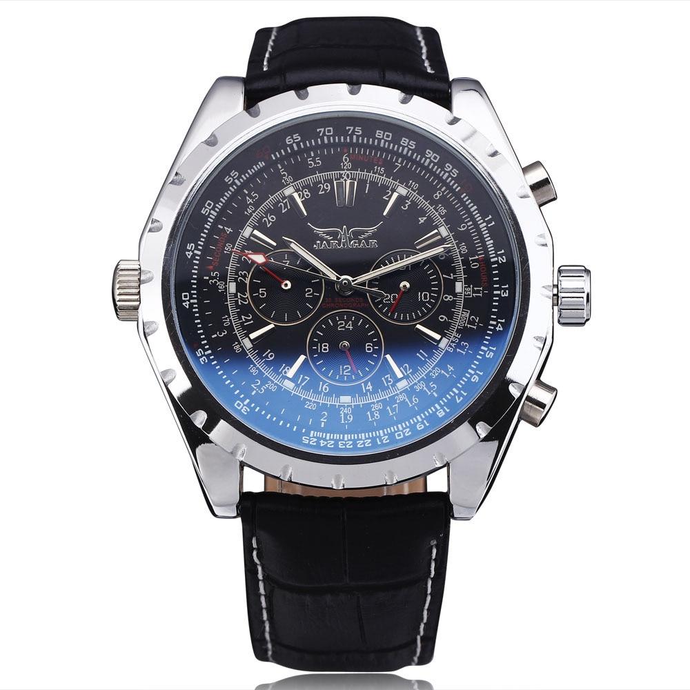 Nieuwe mode luxe merk JARAGAR mechanische horloges mannen gecoat glas automatische kalender uur week wijzerplaat lederen band horloge