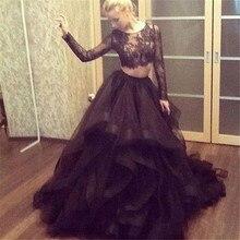 Dubai Abendkleider Mit Langen Ärmeln 2016 Vestidos De Gala Sexy Schwarz Zwei Stücke Prom Kleider Ballkleid