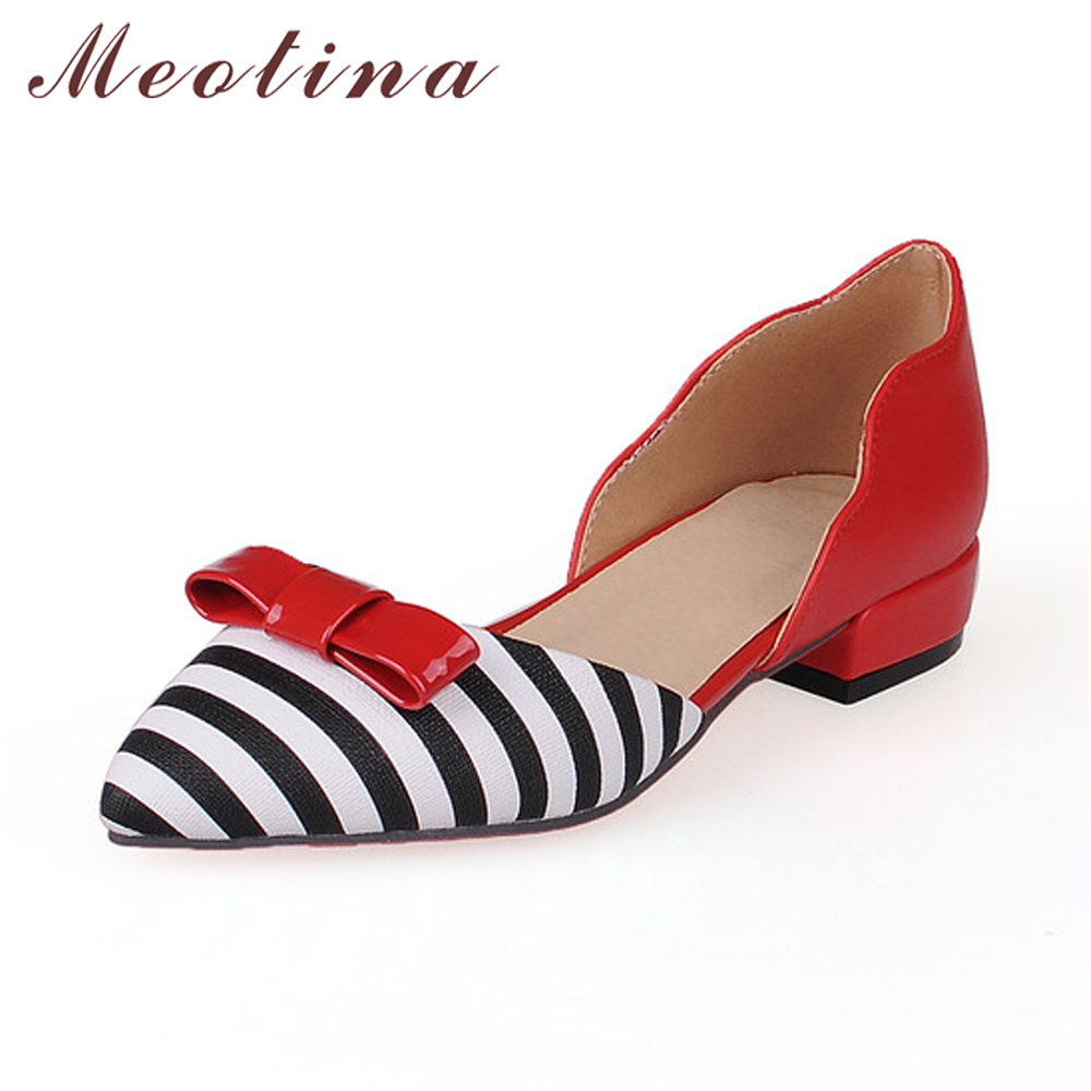Meotina Women Shoes Pointed Toe Ladies Flat Shoes Office Lady Flats Slip On Bow Shoes Women Two Piece Footwear Large Size 9 10 lady glitter high fashion designer brand bow soft flock plus size 43 leisure pointed toe flats square heels single shoes slip on