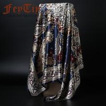 Écharpes à la mode pour les Femmes Impression Satin foulard en soie Femelle  90x90 cm châle carré Bandana pour Tête Grand Hijab É.. 0eb64d4f429
