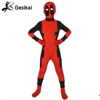 Halloween Cosplay Red Spandex Full Body Zentai Deadpool Superhero Cosplay Carnaval Traje Adulto para Festa Mostra Terno Crianças