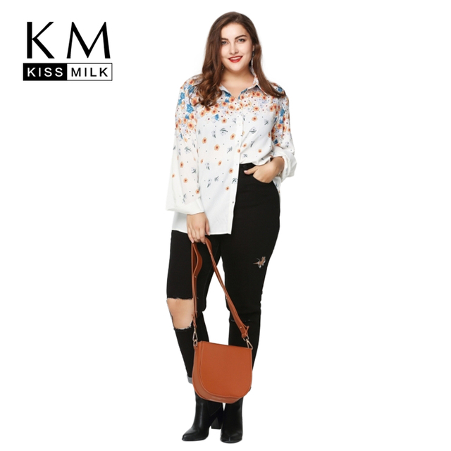 Kissmilk 2017 Mulheres Plus Size 3XL 4XL 5XL 6XL Casual Imprimir Magro Chiffon Camisa de Manga Comprida Grande Tamanho Grande Floral