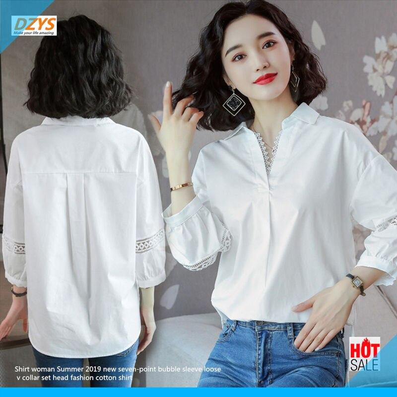 Chemise femme été 2019 nouveau sept points bulle manches lâche col en v ensemble tête mode coton chemise