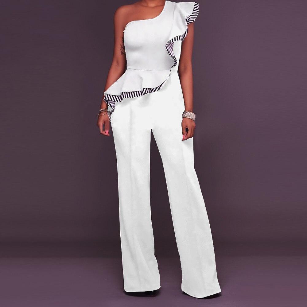 Women Jumpsuits Ruffles Overalls Casual One Shoulder High Waist Long Playsuits Rompers Jumpsuit Long Pants Plus Size