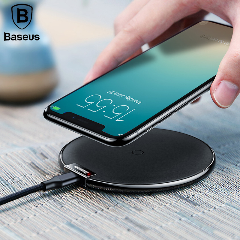 Baseus Leather Wireless Charger For iPhone X 8/8P Samsung Galaxy S9 S9+ Note 9 8 Fast wireless charger QI Wireless Charging Pad