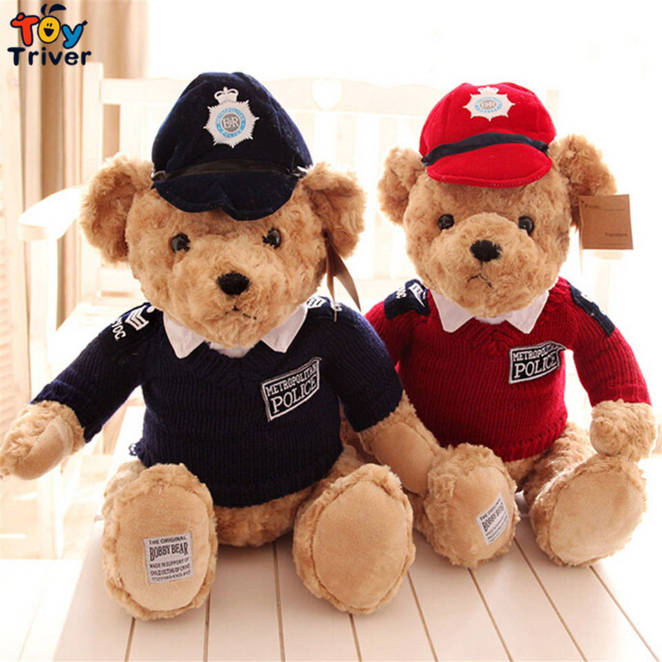 45cm Plush Police Uniforme Militar Sweater Teddy Bear Toy Stuffed Baby Toys Doll Birthday Gift Shop Home Decor Ornament Triver 20cm plush cartoon red blue owl toy pendant stuffed dolls baby kids children kawaii gift toys home shop decoration triver