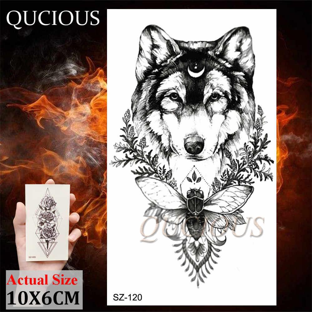 Quciousオオカミクマキツネ一時的な入れ墨クリエイティブ · 森林動物ボディー胸男性のための現実的な枚のステッカー