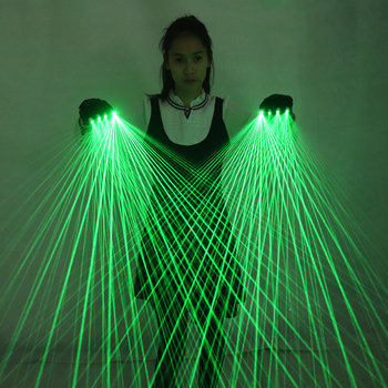 2 in 1 Multi-line Green Laser Gloves With 4pcs 532nm 80mW LED Stage For luminous Costumes Show