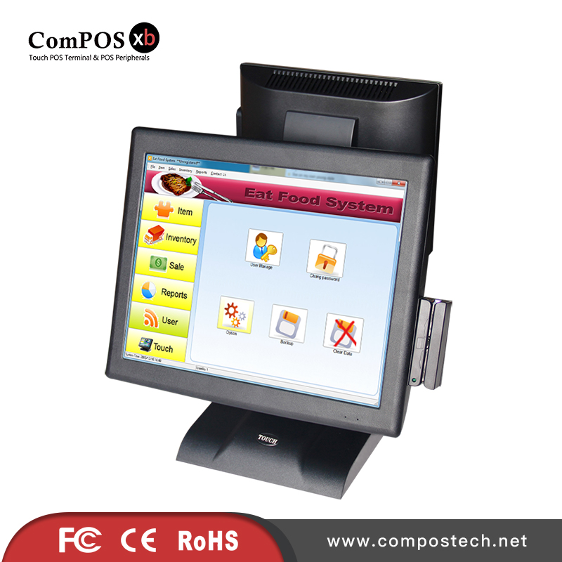 New POS Factory Directly Saling 15 Inch Dual Screen touch POS System With Card Reader For Supermarket